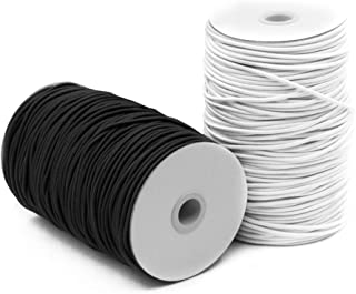 2 Pack 2 mm 5/64 Inch Elastic Cord Stretch String, SourceTon Elastic Beading Cord (Black & White, 55 Yard), Great for Craf...