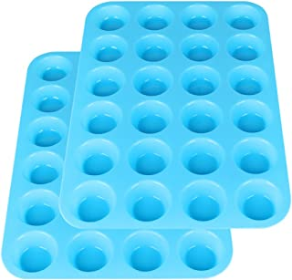 2Packs Silicone Cupcake Baking Cups, 24 Cups Silicone Mini Muffin Pan, Non Stick Silicone Molds for Baking(Blue)