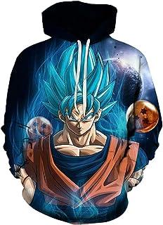 Sudadera con Capucha para Hombre con 3D Digital Impreso Dragon Ball Goku Super Saiyan Azul Men's Hoodie Hip Hop