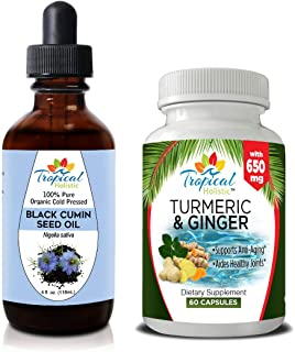 100% Pure Black Cumin Seed Oil 4 oz & Turmeric Ginger 60 Capsules - for Weight Loss, Hair Loss, Skin, Face, Immune System Support, Digestion, Joints, Inflammation by Tropical Holistic