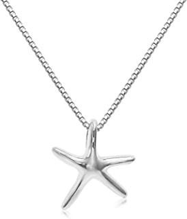 Sterling Silver Solid 3-D Small Size Starfish Charm and Necklace.