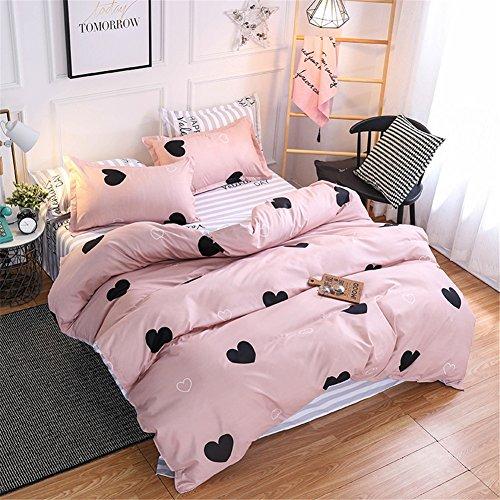 Pink Queen Comforter Cover Sets Heart Bedding Set-Quilt Cover Set1 Duvet Cover 2 Pillow Sham 1 Flat Sheet Microfiber Cotton Zipper Closure Printed Bedding Sets for Boys Girls ( Without Comforter)