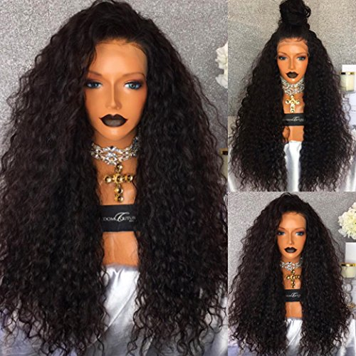 """PlatinumHair #1B Loose Curly Wig Synthetic Lace Front Wig Heat Resistant Glueless for Women Synthetic Wig 24"""""""