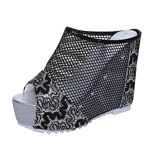 Chaussures Femme Été, GongzhuMM Sandales Compensées Femmes Tongs Broderie Fleurs Chaussures à Talons Hauts 11cm pour Femmes Confortable (CN:38, A Noir)