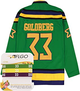 AFLGO Goldberg #33 Mighty Ducks Ice Hockey Jersey S-XXXL Green, Greg Stitched Clothing Throwback, Top Bonus Combo Set with Wristbands