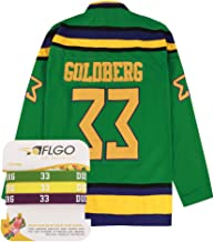 AFLGO Goldberg #33 Mighty Ducks Ice Hockey Jersey S-XXXL Green, Greg Stitched Clothing Throwback, Top Bonus Combo Set with Wristbands