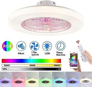 Ventilador De Techo con Iluminación LED Ventilador De Luz Velocidad del Viento Ajustable, Control Remoto Regulable RGB LED Luz De Techo para Sala de Estar y Dormitorio Comedor Lámpara de Techo
