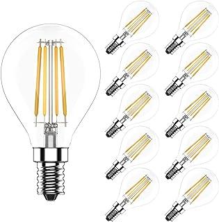 Bombilla LED G45, E14 4W (Equivalente a 40W) Luz Blanca Cálida 2700K, 400 Lúmenes,Regulable,CRI>80,10 unidades
