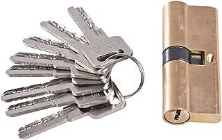 Ewead, 80mm Thumb Turn Euro Profile Cylinder Barrel Lock Brass Satin Nickel Finish with 8 Keys