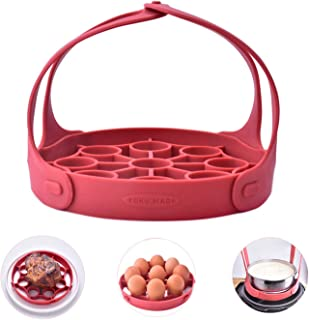 Yoku Made 3in1 Silicone Bakeware Sling with Detachable Handles, for Ninja Foodi and Instant Pots 5 6 QT, Silicone Roasting Rack, Silicone Steaming Rack, Silicone Egg Rack, Silicone Turkey Lifter