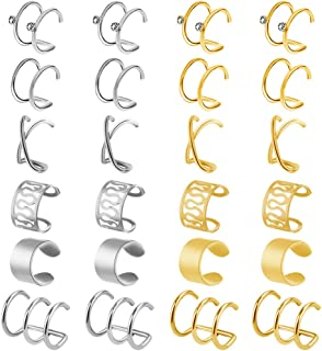 obmwang 12 Pairs Stainless Steel Ear Cuff Helix Cartilage Clip on Earrings Non Piercing Earrings for Women Girls Supplies,...