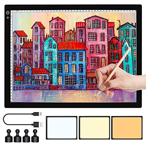 A4 LED Light Box Tracer, SAMTIAN Portable 3 Colors Mode Light Pad USB Powered Ultra-Thin Dimmable Brightness Artcraft Tracing Light Table for Artists, Diamond Drawing, Animation, Sketching