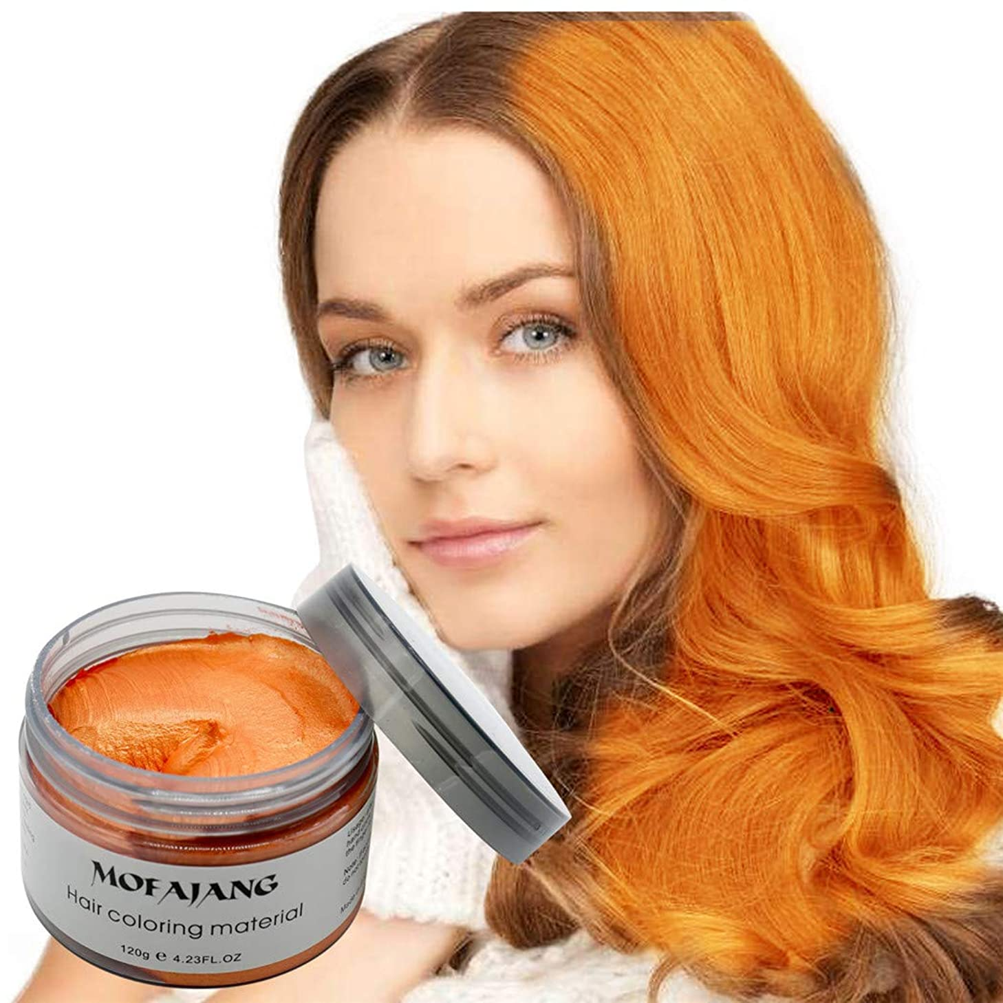 MOFAJANG Hair Color Wax Styling Cream Mud, Temporary Hair Dye Wax, Natural Hairstyle Dye Pomade for Party Cosplay, Halloween, 4.23 OZ, Orange