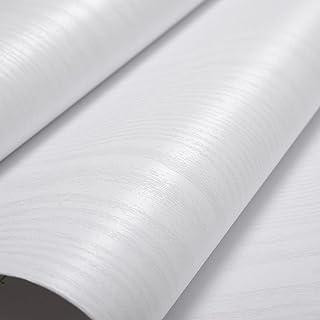 Glow4u Estantería de vinilo autoadhesiva con textura de madera blanca para armarios de cocina mesa encimera de 40 x 500 cm