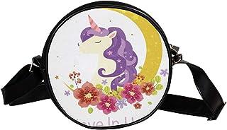 """Coosun Umhängetasche mit Aufschrift """"Believe in Unicorns"""", rund, für Kinder und Damen"""