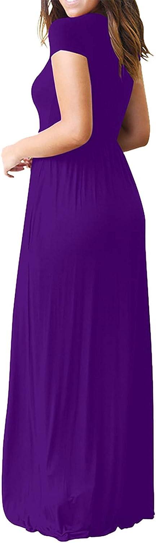 NLLSHGJ Maxi Dresses for Women Summer Maxi Dress Casual Loose Pockets Long Dress Short Sleeve Split