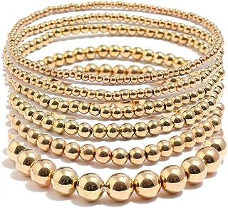 Kemelo 6 Pezzi retrò semplici Perline Rotonde bracciali Elastici Elasticizzati con Perline Braccialetti Gioielli, braccial...