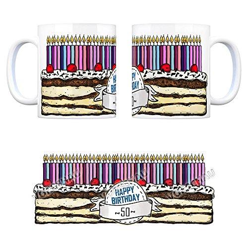 Geburtstagstorte Kaffeebecher zum 50. Geburtstag mit 50 Kerzen Tasse Kaffeetasse Becher Mug Teetasse Büro 50 Jahre Tasse Torte Kuchen 50 Kerzen Geschenkidee Geburtstagstasse Schwarzwälder