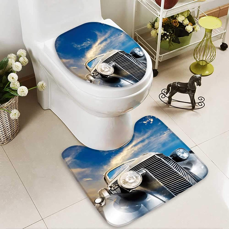 Aolankaili Cushion Non-Slip Toilet Mat Vintage car Against Striking Clouds Soft Non-Slip Water