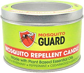 Mosquito Guard Repellent Candle (12 oz) Made with Natural Plant Based Ingredients - Citronella, Lemongrass, Rosemary, Cedarwood Oil - Deet Free