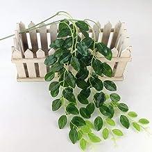 SUXIAO Planta de Frijol de Seda Artificial Colgante de Pared Flores Falsas de Vid Flores de ratán con Hojas Verdes Plantas para la decoración de la Boda en el hogar, 1 Pieza