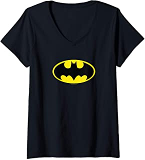 Womens Batman Classic Logo V-Neck T-Shirt