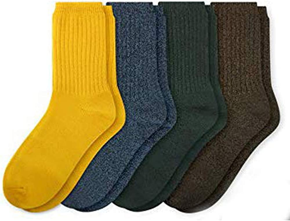 Again 1231 Men's and Women's Combed Very soft Socks - Basic Standard Colored Casual Crew Socks For Daily Dress 4 Package