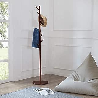 LOHO Wooden Coat Rack Hat Stand 8 Hooks Clothes Scarves Rack Hanger Storage Organizer Standing Hall Tree (Honey Color)