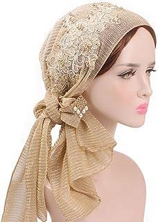 d7b898d3bc1f26 Cugap Women Muslim Floral Scarf Hat Stretch Turban Long Tail Headwear  Cancer Chemo Cap