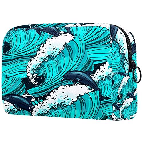 FURINKAZAN Bolsa de maquillaje de viaje con delfín turquesa para artículos de tocador, bolsa de maquillaje para hombres y mujeres