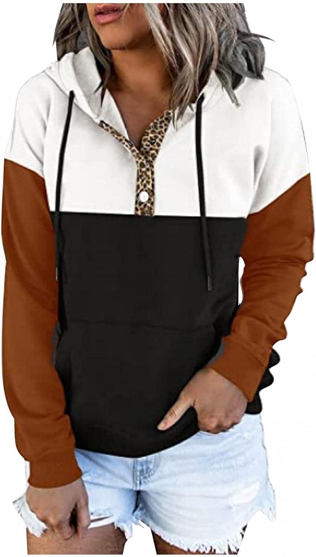 AODONG Hoodies for Womens Long Sleeve Crewneck Color Block Hooded Sweatshirts Loose Pullover Tops