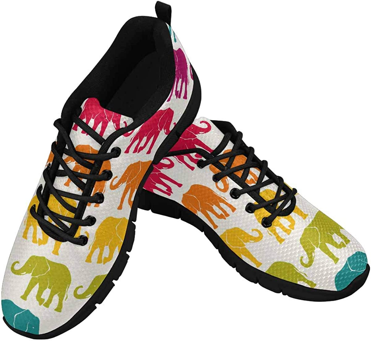 InterestPrint Cute Elephants Women's Athletic Walking Shoes Breathe Comfort Mesh