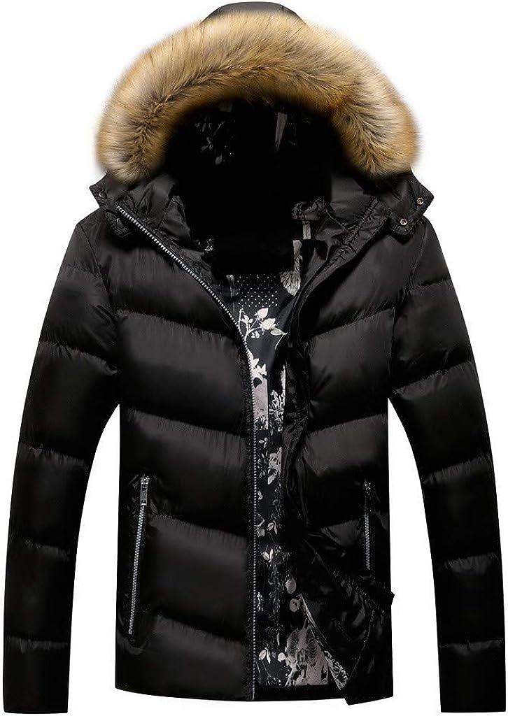 WUAI-Men Winter Coat Faux Fur Cheap super special price Hooded Puffer Warm Milwaukee Mall Thicken Parka J