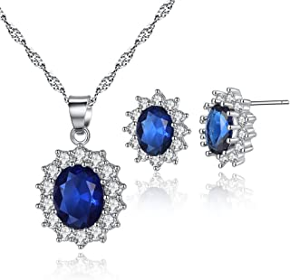 HQLA 18K White Gold Plated Princess Diana William Kate Middleton's Created Blue Necklace and Stud Earrings Jewerly Set for Women Girls,Great Gift for Mother's Day