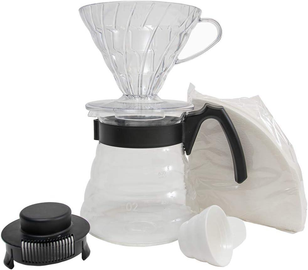 HARIO Craft Kit V60 Gotero de plástico con servidor de vidrio de gama de café, cuchara medidora y filtros, borosilicato, negro, tamaño 2