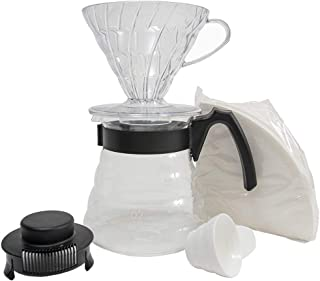 Hario Set with Dripper, Glass Server Scoop and Filters, Size 02, Craft Coffee Maker, Black