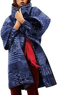 Succper Women's Winter Coats Large Size Lapel Retro Printed Woolen Cardigan Long Coat Lapel Woolen