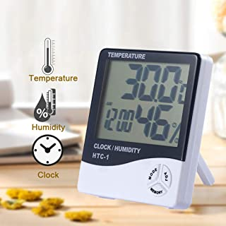 Godagoda Electronic LCD Screen Digital Thermometer Hygrometer Indoor Temperature Humidity Meter with Alarm Clock Function(HTC-1)