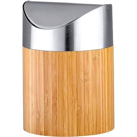 axentia Mini Poubelle Décorative Bonja, Petite Poubelle de Table en Bambou avec Couvercle en Acier Inoxydable, env. 12 x 12 x 16,5 cm, Aspect Bois / Argenté