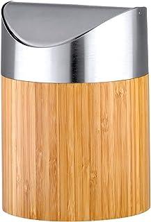 axentia Mini Poubelle Décorative Bonja, Petite Poubelle de Table en Bambou avec Couvercle en Acier Inoxydable, env. 12 x 1...