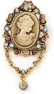 Avalaya Vintage Inspired Champagne/AB Crystal Cameo with Charm Brooch/Pendant in Antique Gold Tone - 75mm L