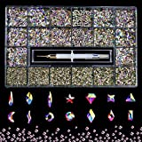 Professional Nail Crystal Kit, 9000pcs Multi Shapes Glass Crystal AB Rhinestones for Nail Art Craft Mix Sizes Non Hotfix Flatback Nail Gems, Wax Pen for Rhinestones, Acrylic Beads Storage Container