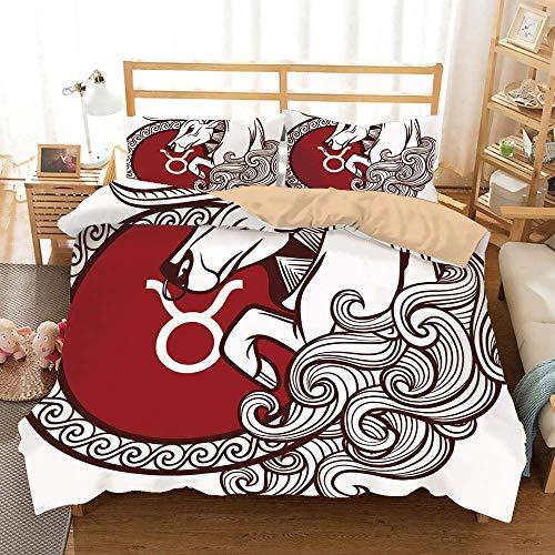 SIONOLY Taurus Khaki Bettwäsche Set, Astrologiekalender Stier Klassische Tierfigur Person Symbolisches Design Dekorativ, Dekorativ 3 teiliges Bettwäsche Set 2 Kissenbezüge