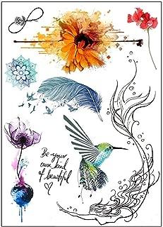 BESTPICKS Large Waterproof Fashion Temporary Tattoo Sticker - BEAUTIFUL, ROSE, FEATHER, BIRDS - 14.5 X 21 cm Sheet