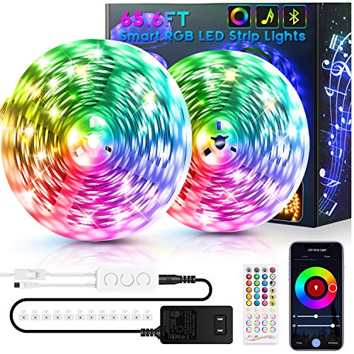 65.6ft LED Strip Lights Bluetooth, Ultra-Long Smart RGB LED Light Strip Music Sync 600 LEDs 5050 SMD Color Changing LED Strip Lights with 40 Keys IR Remote for Bedroom Kitchen Under Cabinet(2x32.8FT)