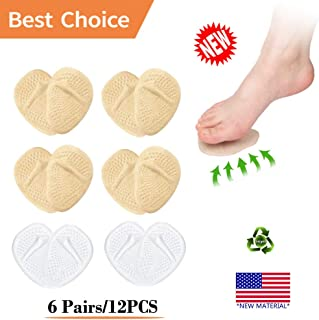 (12PCS/6Pairs) Ball of Foot Cushions, Metatarsal Pads, High Heel Inserts -Reusable-Forefoot Cushions, Soft Gel Insole Pads, Idea for Mortons Neuroma & Metatarsal Foot Pain Relief – Women&Men