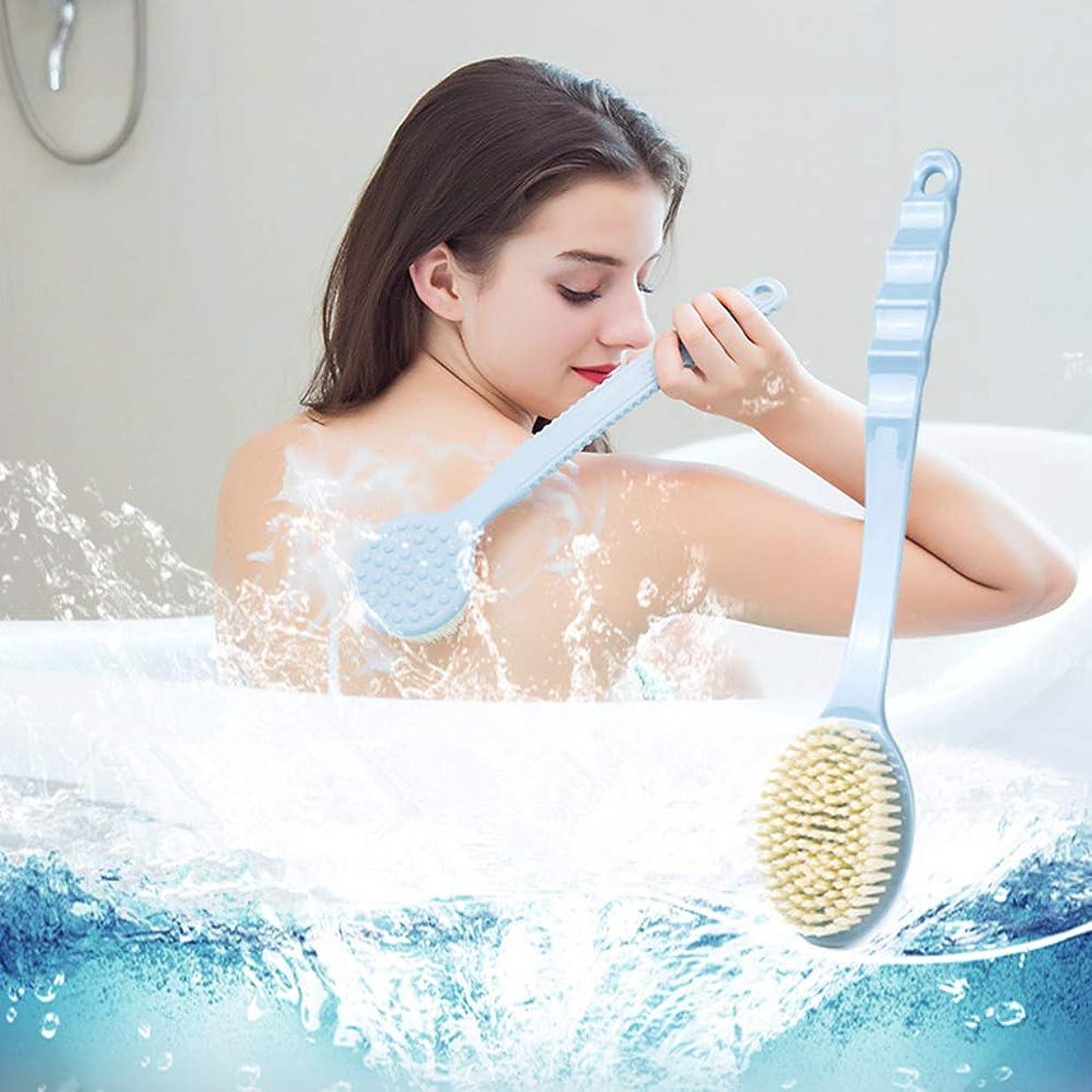 連続的測定可能トンネルボディブラシロング 風呂ブラシ背中 マッサー長柄滑り止め付きジリンパマッサージ角質取りお風呂 ブラシ血行促進 美肌背中ブラシボディーブラシバスグッズ (ブルー)