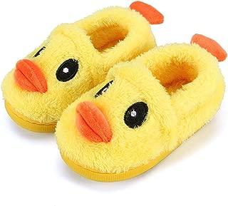 Toddler Baby Boys Girls Cartoon Duck Plush Indoor Slipper Non Skid Walking Boat Shoes Slip on Fuzzy Mocassion 1-10.5Y