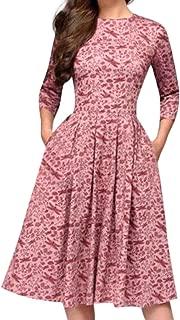 Women Elegent Dresses A-line Vintage Printing Three Quarter Sleeve O-Neck Party Dress Casual Fashion Knee-Length Dress