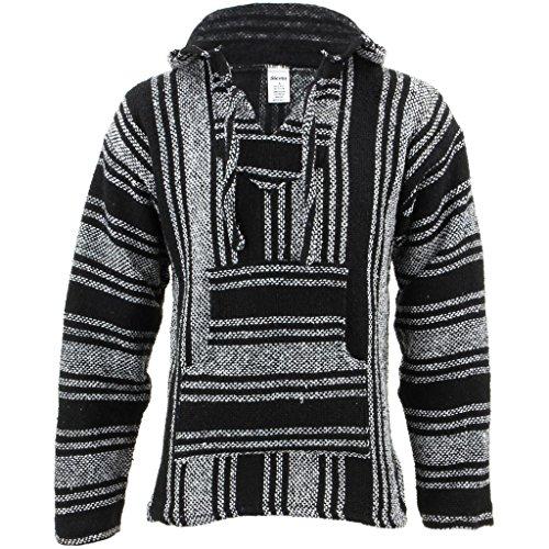 Siesta Herren Kapuzenpullover, Gestreift schwarz schwarz/weiß One Size Gr. XXL, schwarz/weiß